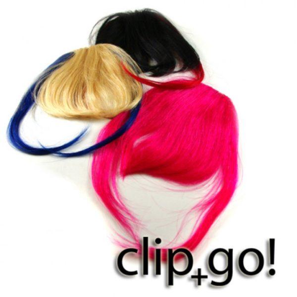 ClipIN Pony Extensions in rosa, schwarz und blond