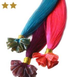 Haarverlängerungen in pink, lila und türkis