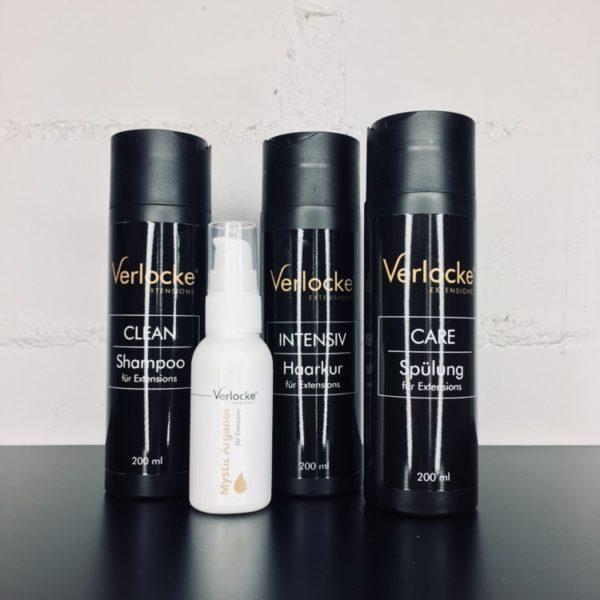 Intensivpflege-Set bestehend aus einem Shampoo, einem Haarkur, einer Spülung und einem Arganol Spray