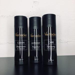 Basis Pflegeset von Verlocke, bestehend aus einem Shampoo, einem Haarkur und einer Spülung