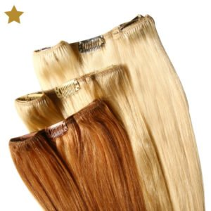 Hair Extensions in blond und hellbraun