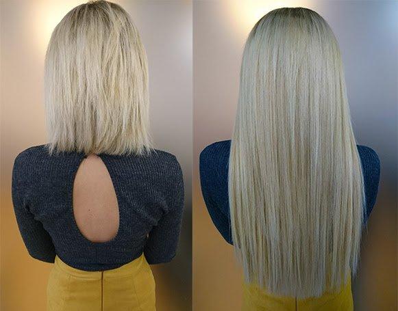 Haarverlängerung. Vorher und Nachher