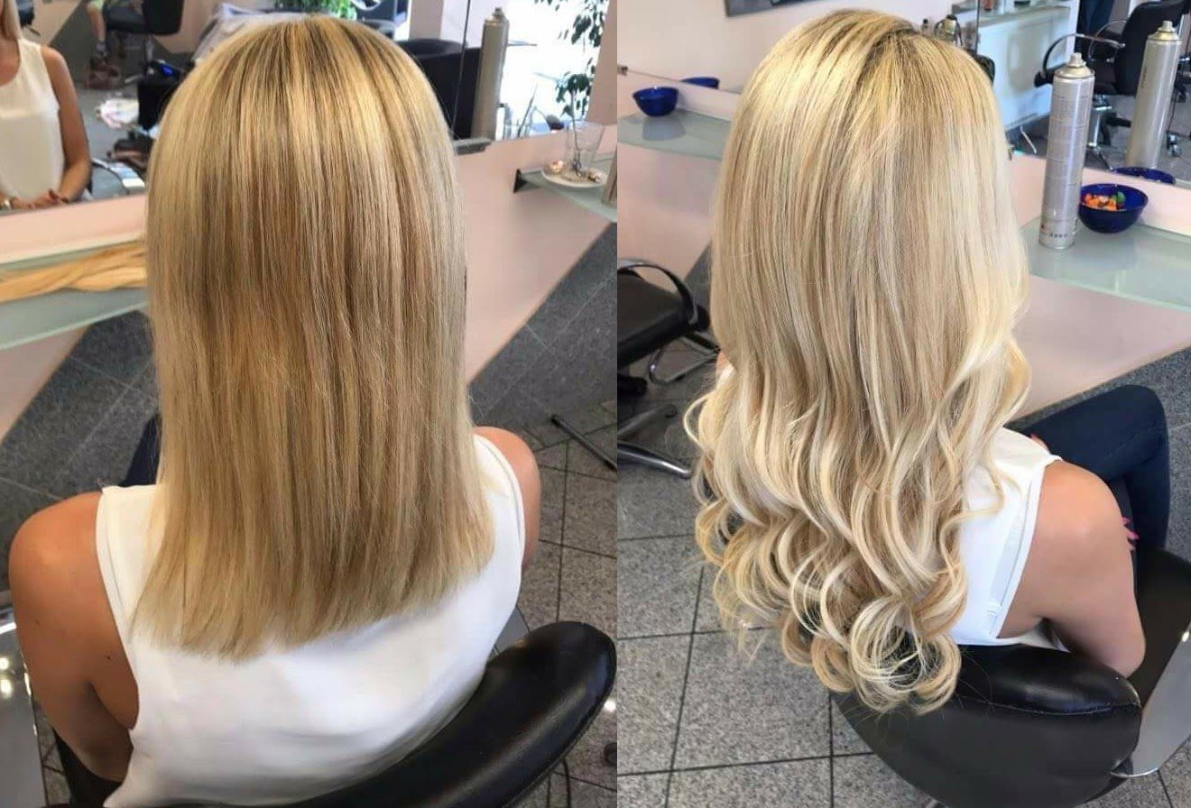Haarverlängerung bei Verlocke. Vorher und Nachher