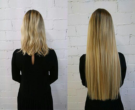 Verlocke Haarverlängerung. Vorher und Nachher