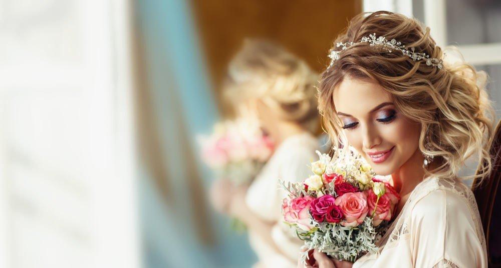 Eine Frau während der Hochzeit
