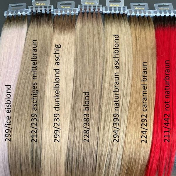 Tape IT Hair Extensions in rot un diversen Blond-Farben